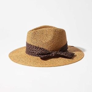 NWT Loft Straw Fedora Leopard Bow Hat